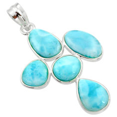 14.73cts natural blue larimar 925 sterling silver pendant jewelry r34949