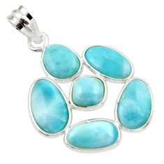 14.73cts natural blue larimar 925 sterling silver pendant jewelry r34950