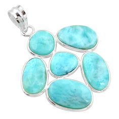 19.24cts natural blue larimar 925 sterling silver pendant jewelry r34952