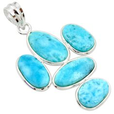 16.41cts natural blue larimar 925 sterling silver pendant jewelry r34953