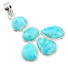 18.14cts natural blue larimar 925 sterling silver pendant jewelry r34954