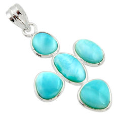 13.69cts natural blue larimar 925 sterling silver pendant jewelry r34956