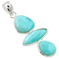 11.93cts natural blue larimar 925 sterling silver pendant jewelry r34957