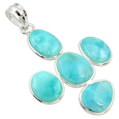 17.53cts natural blue larimar 925 sterling silver pendant jewelry r34960