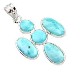 12.52cts natural blue larimar 925 sterling silver pendant jewelry r34962