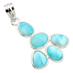 10.30cts natural blue larimar 925 sterling silver pendant jewelry r34963