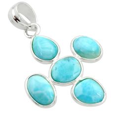 10.89cts natural blue larimar 925 sterling silver pendant jewelry r34965