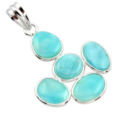 14.08cts natural blue larimar 925 sterling silver pendant jewelry r34966