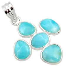 11.28cts natural blue larimar 925 sterling silver pendant jewelry r34969
