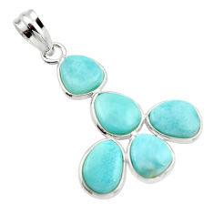 13.13cts natural blue larimar 925 sterling silver pendant jewelry r34972