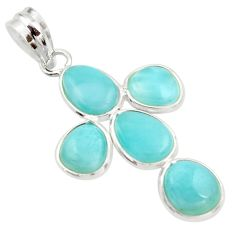 11.96cts natural blue larimar 925 sterling silver pendant jewelry r34974
