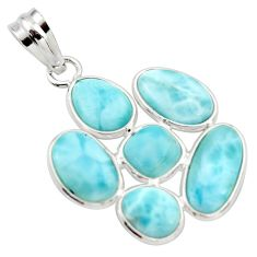 14.73cts natural blue larimar 925 sterling silver pendant jewelry r34976