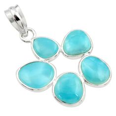 11.93cts natural blue larimar 925 sterling silver pendant jewelry r34977
