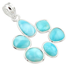 12.54cts natural blue larimar 925 sterling silver pendant jewelry r34979
