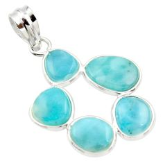13.13cts natural blue larimar 925 sterling silver pendant jewelry r34980