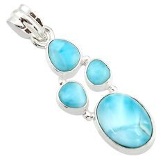 11.95cts natural blue larimar 925 sterling silver pendant jewelry r42984