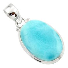 15.10cts natural blue larimar 925 sterling silver pendant jewelry r43697