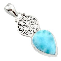 13.22cts natural blue larimar 925 sterling silver pendant jewelry r43770