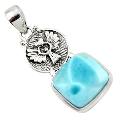 15.50cts natural blue larimar 925 sterling silver pendant jewelry r43775