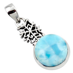 14.31cts natural blue larimar 925 sterling silver pendant jewelry r43785