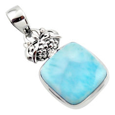 13.55cts natural blue larimar 925 sterling silver pendant jewelry r43814