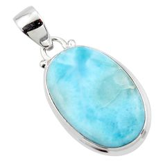 14.10cts natural blue larimar 925 sterling silver pendant jewelry r43817