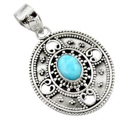 2.02cts natural blue larimar 925 sterling silver pendant jewelry r44619