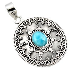4.27cts natural blue larimar 925 sterling silver pendant jewelry r47001