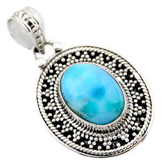 6.58cts natural blue larimar 925 sterling silver pendant jewelry r53165