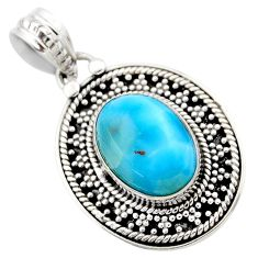 6.04cts natural blue larimar 925 sterling silver pendant jewelry r53170