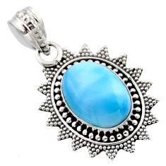 6.02cts natural blue larimar 925 sterling silver pendant jewelry r53171