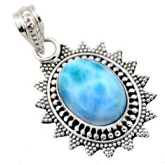 6.36cts natural blue larimar 925 sterling silver pendant jewelry r53173