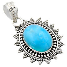 6.48cts natural blue larimar 925 sterling silver pendant jewelry r53174