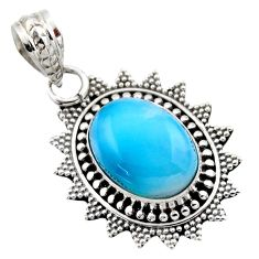 6.57cts natural blue larimar 925 sterling silver pendant jewelry r53175