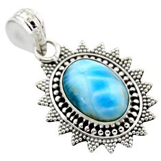 5.87cts natural blue larimar 925 sterling silver pendant jewelry r53177
