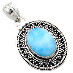 6.31cts natural blue larimar 925 sterling silver pendant jewelry r53178