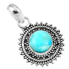 4.82cts natural blue larimar 925 sterling silver pendant jewelry r57792