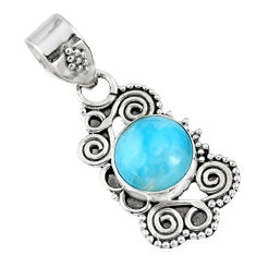4.71cts natural blue larimar 925 sterling silver pendant jewelry r57793