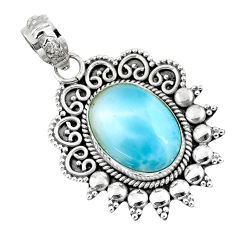 6.04cts natural blue larimar 925 sterling silver pendant jewelry r57851