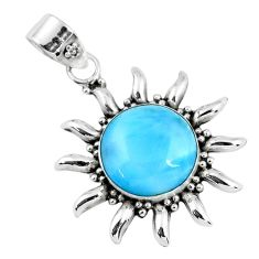 12.83cts natural blue larimar 925 sterling silver pendant jewelry r57854