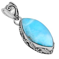 11.17cts natural blue larimar 925 sterling silver pendant jewelry r60947