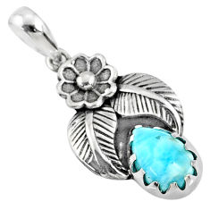 2.17cts natural blue larimar 925 sterling silver pendant jewelry r67628