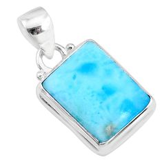 9.49cts natural blue larimar 925 sterling silver pendant jewelry r69359