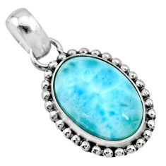 11.23cts natural blue larimar 925 sterling silver pendant jewelry r72481