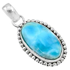 11.11cts natural blue larimar 925 sterling silver pendant jewelry r72487