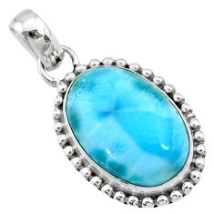 13.27cts natural blue larimar 925 sterling silver pendant jewelry r72502