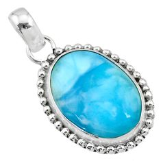 13.75cts natural blue larimar 925 sterling silver pendant jewelry r72503