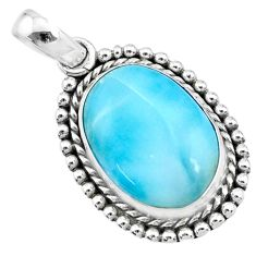 13.28cts natural blue larimar 925 sterling silver pendant jewelry r72514
