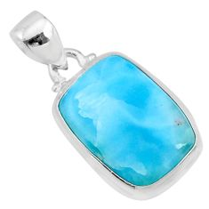 14.68cts natural blue larimar 925 sterling silver pendant jewelry r72557