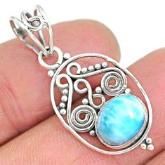 2.88cts natural blue larimar 925 sterling silver pendant jewelry r90165